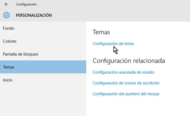 Opción Configuración de temas en cómo obtener más temas para Windows 10 en línea