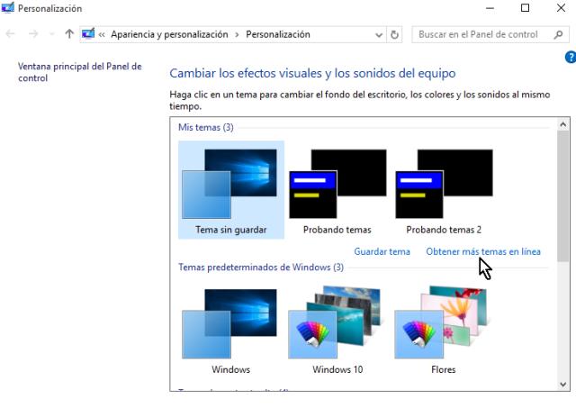 Enlace para obtener más temas en línea en cómo obtener más temas para Windows 10 en línea