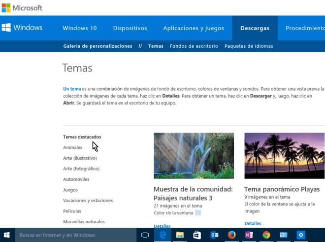 Página de Microsoft para descargar nuevos temas para Windows 10 en cómo obtener más temas para Windows 10 en línea