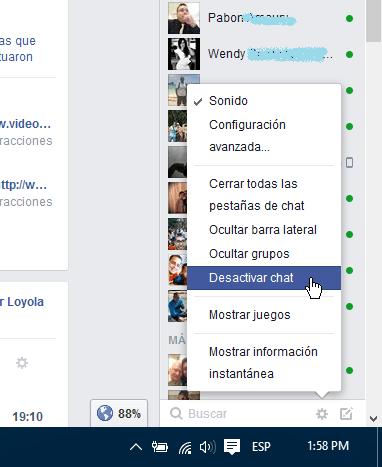 Opción Desactivar el chat de Facebook en cómo ocultar tu estado en línea en Facebook
