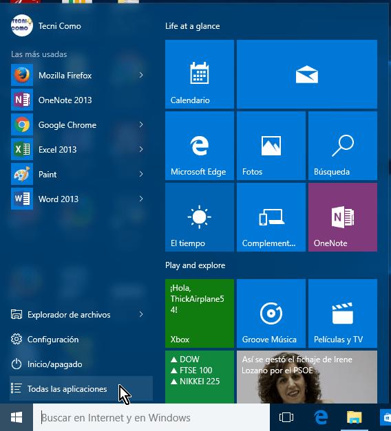 Botón para acceder todas las aplicación en el menú Inicio en cómo abrir el Panel de control en Windows 10