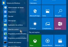 Accediendo al Panel de control desde el menú Inicio en cómo abrir el Panel de control en Windows 10