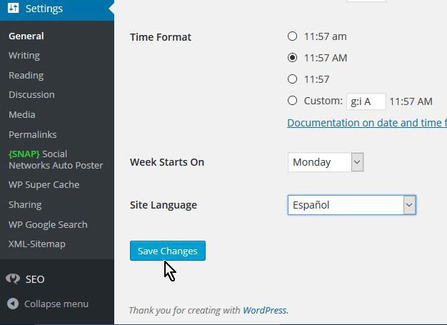 Luego de seleccionar el idioma cliquear el botón Save Changes en cómo cambiar el idioma de WordPress a español