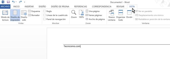 Pestaña Vista en cómo colocar una raya encima del texto en Word 2013