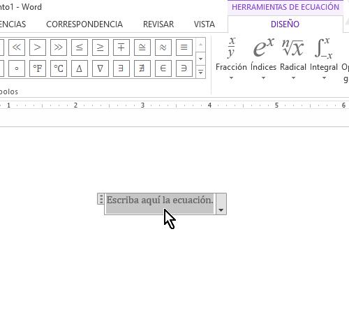 Caja de texto para agregar la ecuación en cómo colocar una raya encima del texto en Word 2013