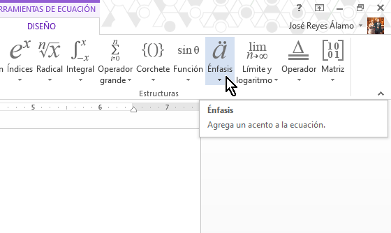 Botón Énfasis para poner la raya superior usando la ecuación en cómo colocar una raya encima del texto en Word 2013