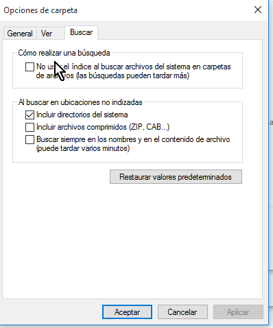 Opciones bajo el grupo Cómo realizar una búsqueda en cómo configurar las opciones de carpeta en Windows 10
