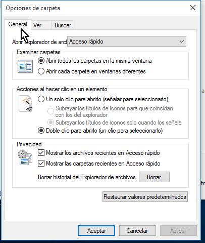 Ventana Opciones de carpeta en cómo configurar las opciones de carpeta en Windows 10