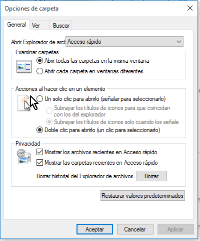 Opciones bajo el grupo Acciones al hacer clic en un elemento en cómo configurar las opciones de carpeta en Windows 10