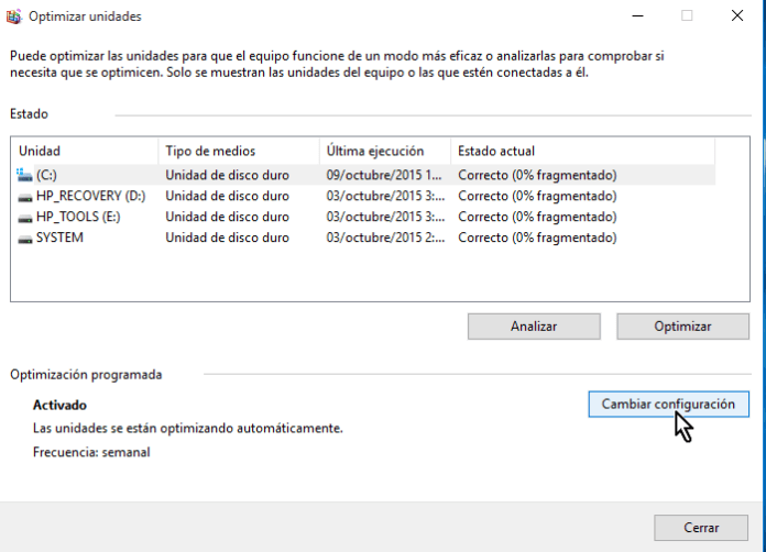 Botón Cambiar configuración en cómo desfragmentar un disco en Windows 10