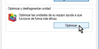 Botón Optimizar en cómo desfragmentar un disco en Windows 10