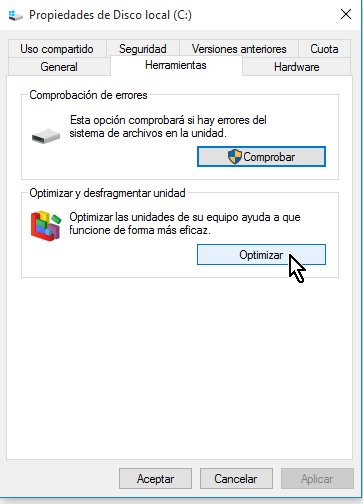 Botón Optimizar en cómo desfragmentar un disco en Windows 10