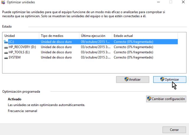Botón Optimizar para comenzar la desfragmentación en cómo desfragmentar un disco en Windows 10