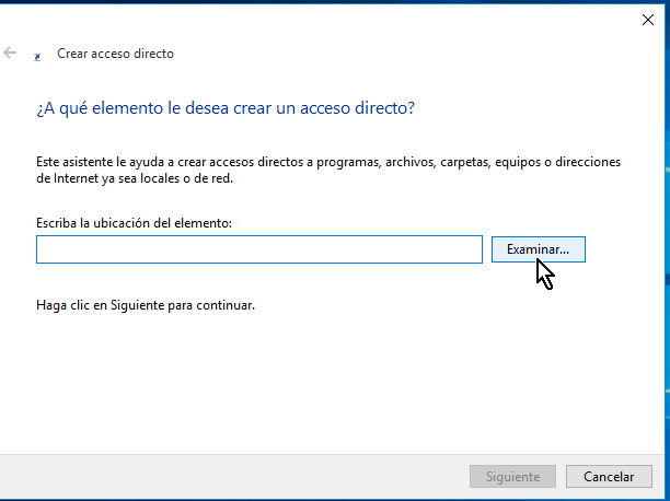 Botón examinar para buscar ubicación del archivo en cómo lanzar Google Chrome en modo incógnito con un acceso directo