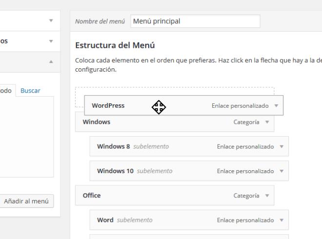 Moviendo un elemento del menú como principal en cómo personalizar un menú en WordPress