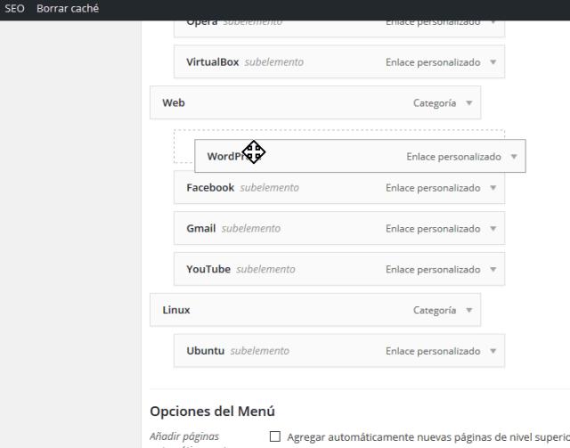 Colocando un elemento del menú debajo del otro creando un sub-menú en cómo personalizar un menú en WordPress