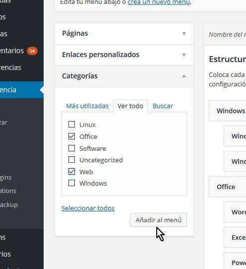 Pestaña para  añadir Categorías de las entradas al menú en cómo personalizar un menú en WordPress