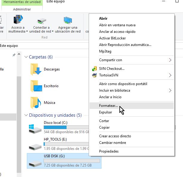 """Seleccionando la opción Formatear en cómo resolver el problema """"El archivo es demasiado grande"""""""