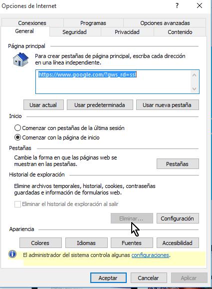 Botón Eliminar deshabilitado en Internet Explorer en cómo deshabilitar el botón Eliminar el historial de Internet Explorer