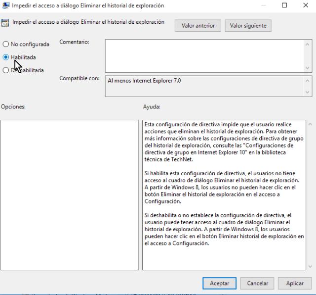 Seleccionando la opción Habilitada en cómo deshabilitar el botón Eliminar el historial de Internet Explorer