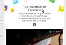 Ejemplo de Tus recuerdos en Facebook en la sección Noticias en cómo ocultar permanentemente Tus recuerdos en Facebook