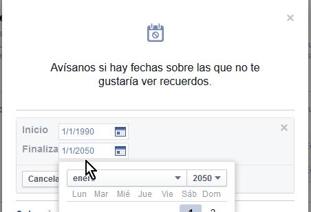 Seleccionando la fecha Finaliza en el futuro lejano en cómo ocultar permanentemente Tus recuerdos en Facebook