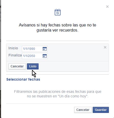 Dándole clic al botón Listo en cómo ocultar permanentemente Tus recuerdos en Facebook