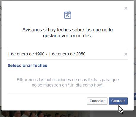 Presionando el botón Guardar en cómo ocultar permanentemente Tus recuerdos en Facebook