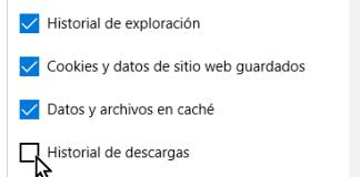 Casillas para indicar los datos de exploración a borrar en cómo borrar el historial de Microsoft Edge