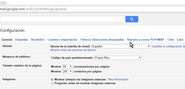 Pestañá Reenvío y correo POP/IMAP en cómo configurar el acceso IMAP en Gmail