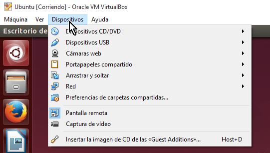 Opción Dispositivos del menú principal de VirtualBox en cómo utilizar la cámara web en VirtualBox