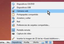 Opción Cámaras web desde la barra de herramientas de VirtualBox en cómo utilizar la cámara web en VirtualBox