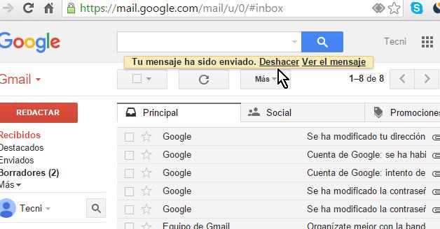 Opción Deshacer para cancelar envío del email en cómo cancelar el envío de un correo electrónico en Gmail