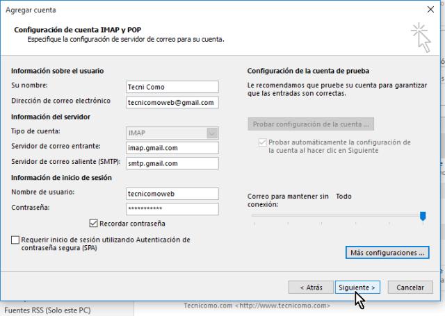 Haz clic en el botón Siguiente  en cómo configurar tu cuenta de Gmail en Outlook 2013 usando IMAP