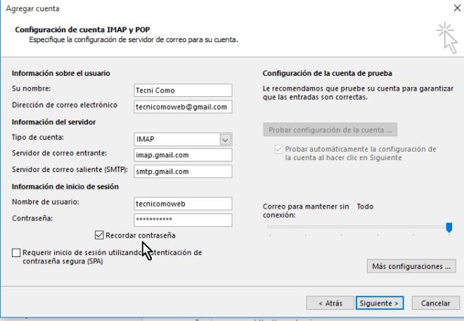 Ejemplo de cómo llenar los campos de configuración incluyendo los puertos en cómo configurar tu cuenta de Gmail en Outlook 2013 usando IMAP