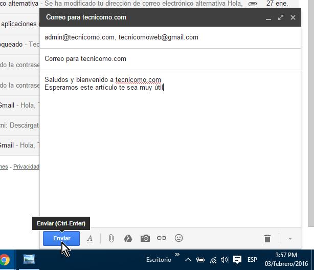 Botón Enviar en cómo crear y enviar un correo electrónico en Gmail