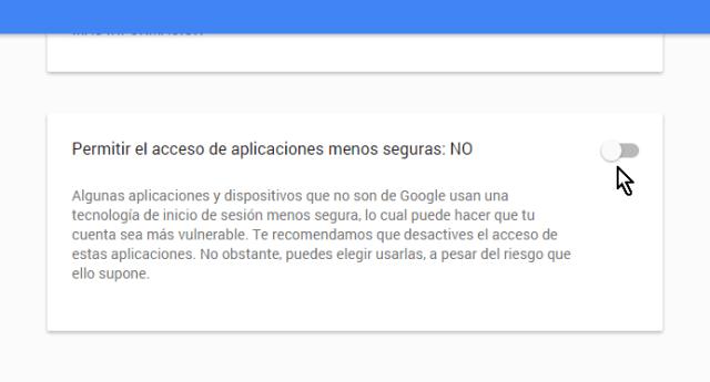 Cuadro de opciones para aplicaciones menos seguras en cómo permitir aplicaciones menos seguras en mi cuenta de Google