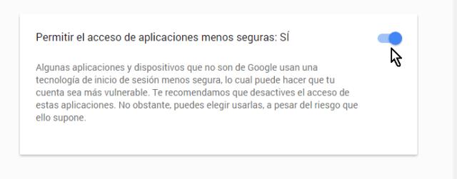 Habilitando el uso de las aplicaciones catalogadas menos seguras en cómo permitir aplicaciones menos seguras en mi cuenta de Google
