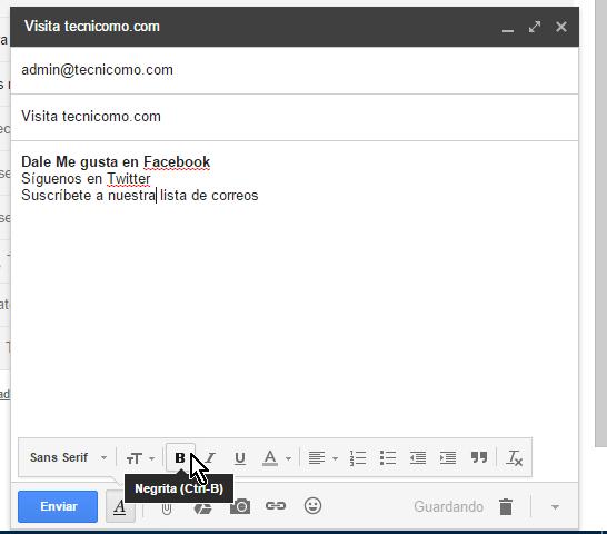 Botón para aplicar negritas en cómo usar las opciones de formato en Gmail