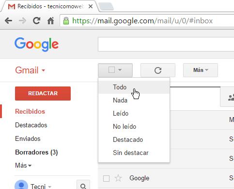 Opción Todo en cómo borrar todos los correros de Gmail