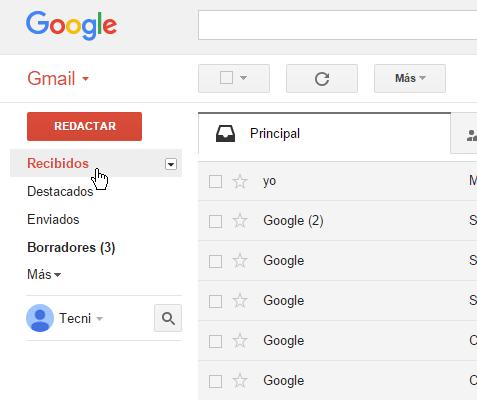 Selecciona la etiqueta del mensaje a eliminar en cómo borrar un mensaje en Gmail