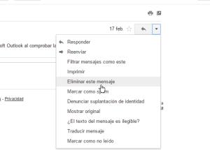 Cómo borrar un mensaje en Gmail