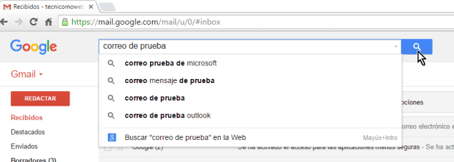 Botón de búsqueda en cómo buscar correos en Gmail