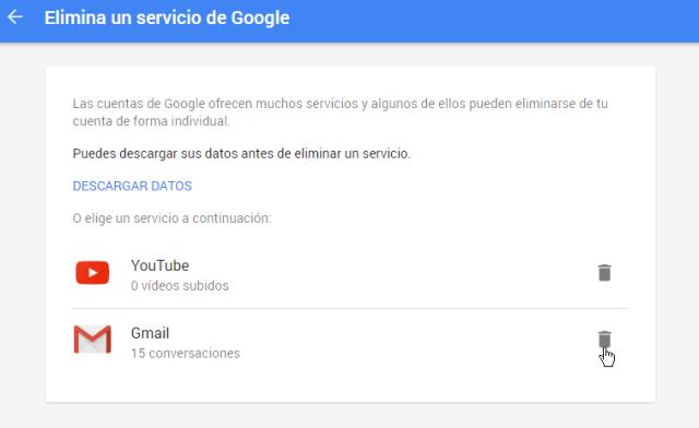 Selecciona el servicio Gmail en cómo eliminar una cuenta de Gmail