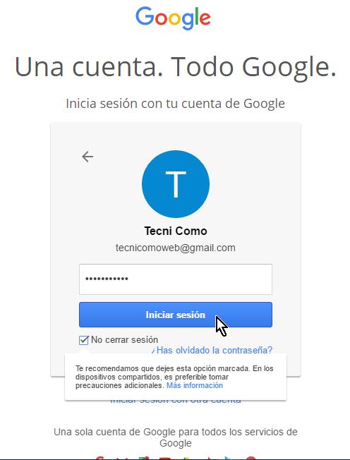 cómo iniciar una sesión en tu cuenta de google tecnicomo