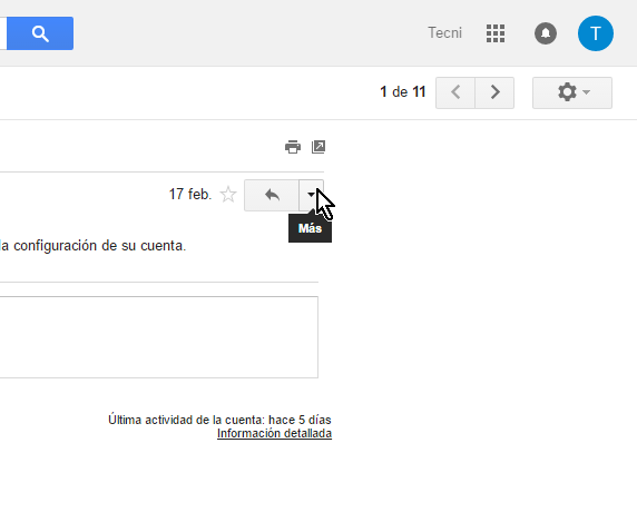 Haz clic en el botón Más en cómo reenviar un correo en Gmail