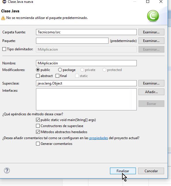Botón Finalizar en cómo crear un método main de Java en Eclipse