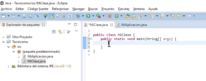Ejemplo del método main debidamente creado en cómo crear un método main de Java en Eclipse