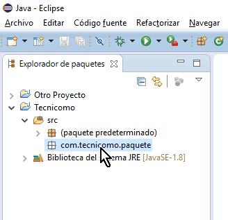 Paquete debidamente creado en el proyecto en cómo crear un paquete de Java en Eclipse