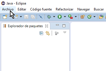 Opción Archivo del menú principal en cómo crear un proyecto básico de Java en Eclipse